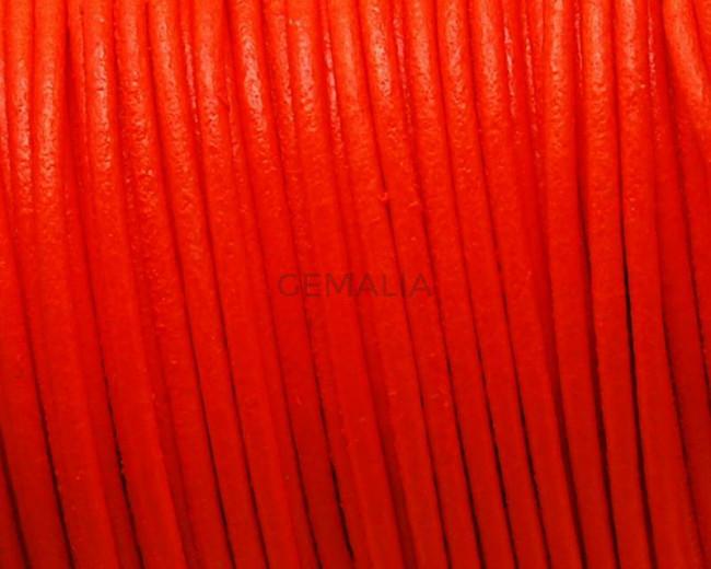Round leather Cord. 2mm. Fluorescent orange.  Best Quality.