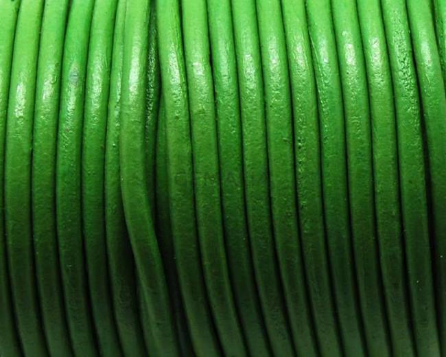 Round Leather cord. 4mm. Pistachio.