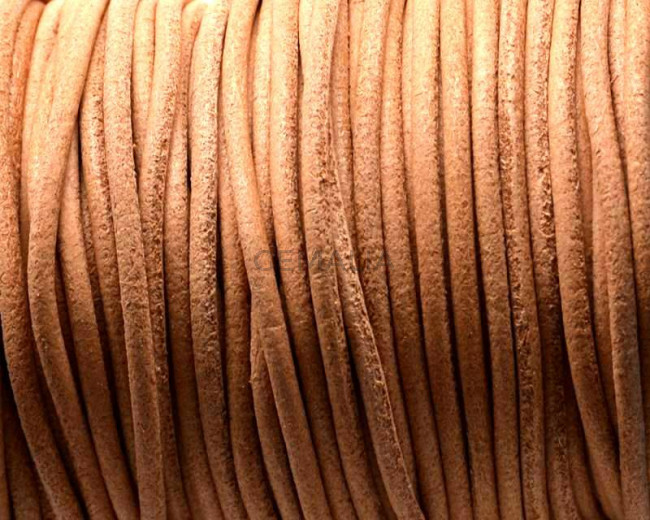 Leather cord. Round. 2.5mm. Natural. Best Quality.