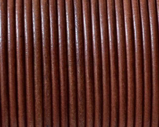 Leather cord. Round. 2mm. Cognac. Best Quality.