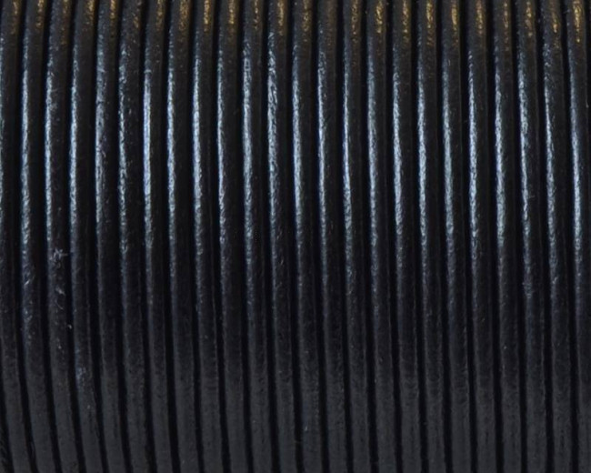 Round leather Cord. 2mm. Black. Best Quality.