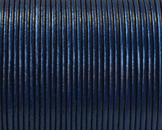 Round Leather Cord. 1.5mm. Navy blue. Best Quality.
