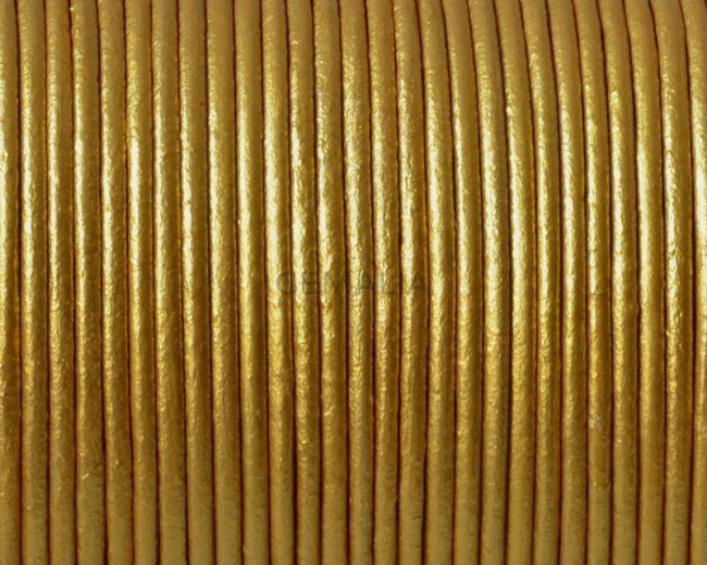Round Leather Cord. 1.5mm. Metal gold. Best Quality.