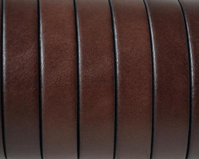 Flat Leather cord 10x1.5mm. Dark brown. Best Quality.