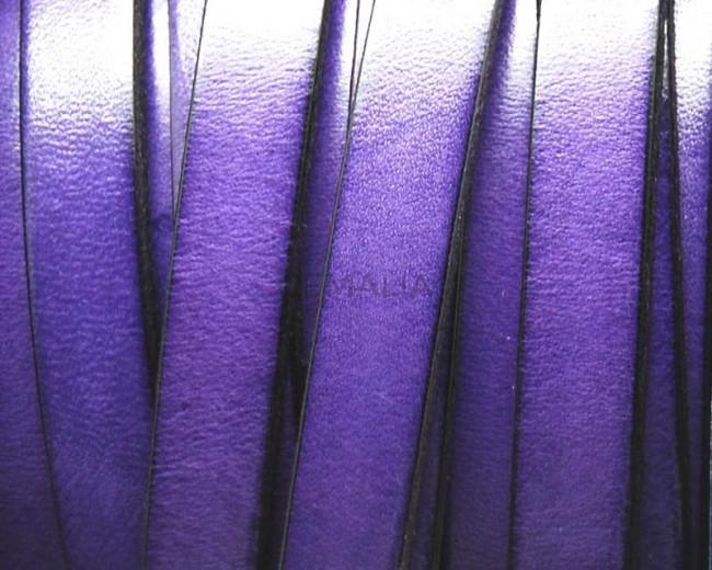 Flat Leather cord 10x1.5mm. Purple&black. Best Quality.
