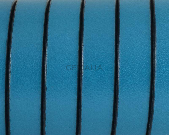 Flat Leather cord 10x1.5mm. Turquoise&black. Best Quality.