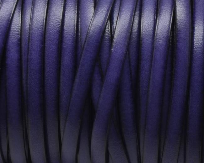Flat Leather cord. 5x1.5mm. Purple&black. Best Quality.