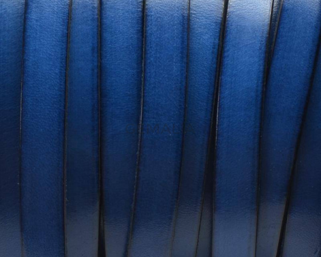 Flat Leather cord 10x1.5mm. Blue&B. Best Quality.