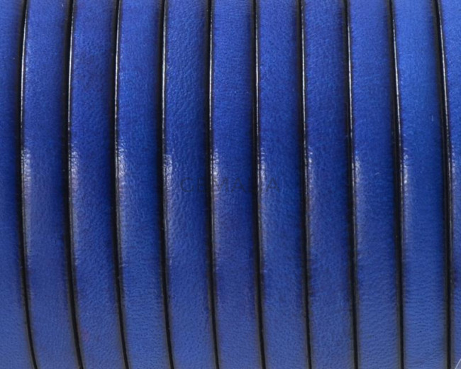 Flat Leather cord. 5x1.5mm. Blue. Best Quality.