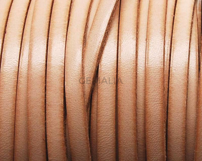 Flat Leather cord. 5x1.5mm. Natural. Best Quality. .