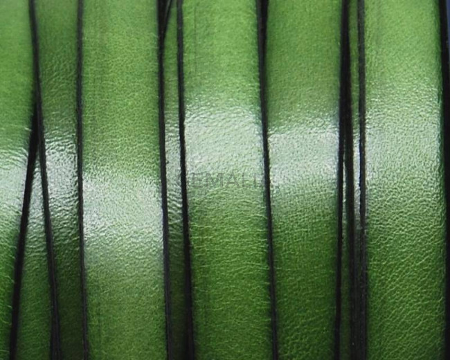 Flat Leather cord. 10x1.5mm. Green. Best Quality.