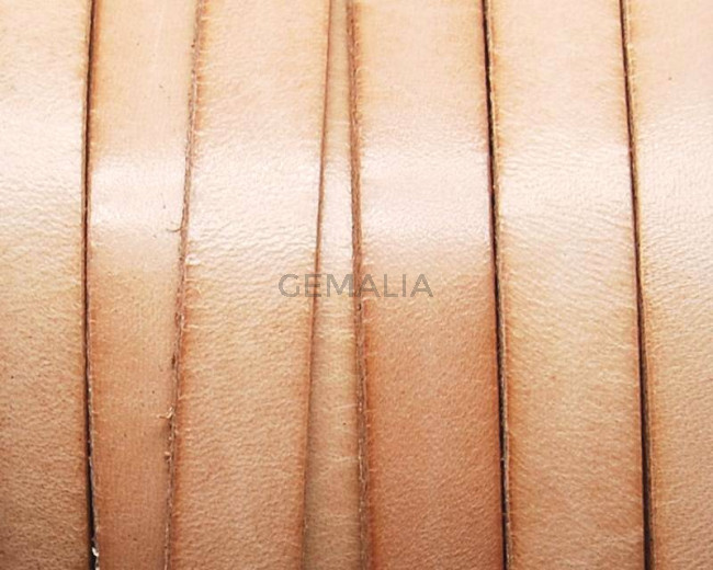 Flat Leather cord. 10x1.5mm. Natural. Best Quality.