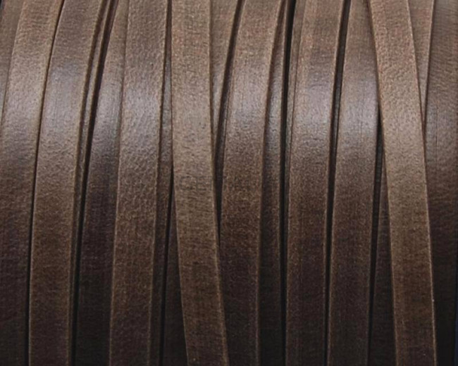 Flat Leather cord. 5x1.5mm. Dark brown mat. Best qual.