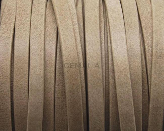 Flat Leather cord. 5x1.5mm. Beige Mat. Best Quality.