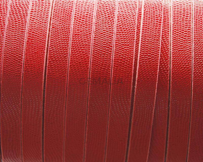 Flat Leather cord. 10x2mm. Microengraved. Red. Best Quality.