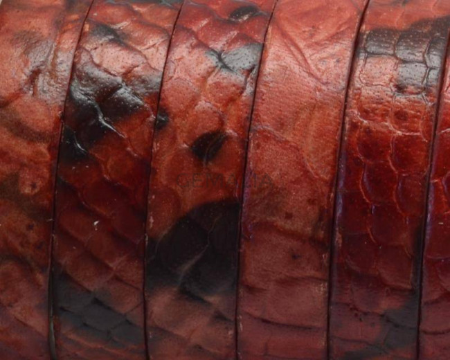 Flat Leather cord. 10x1.5mm.Snake Engraved. Red.