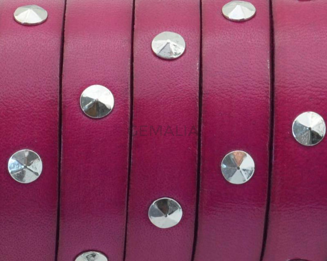 Flat Leather cord with tacks.10x2mm.Fuchsia-Silver Color.Best Qual.