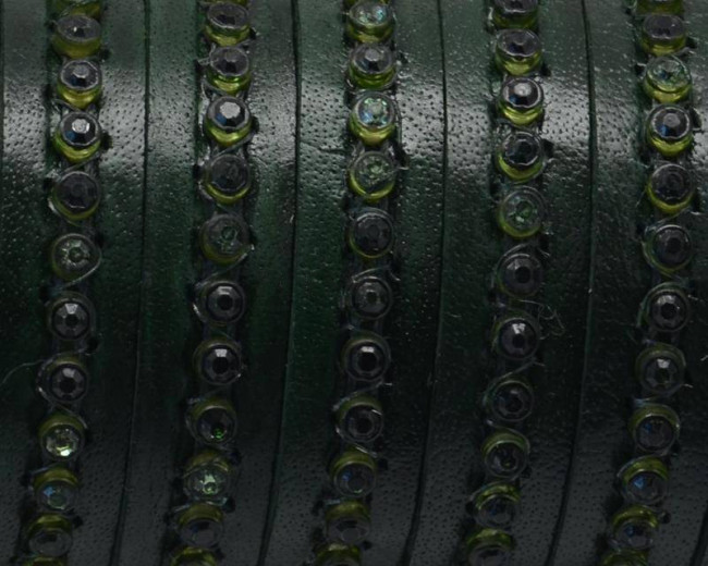Flat Leather cord. 10x2mm. Bottle green-green strass. Best Quality