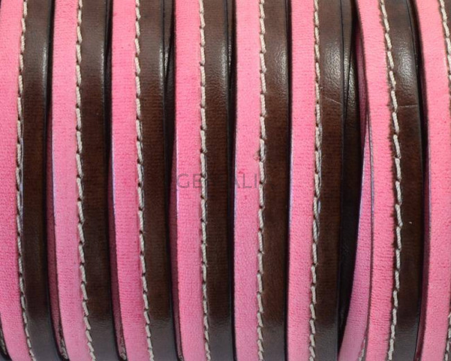 Flat Stitched leather cord. 10x2cm. Dark brown-pink. Best Quality.