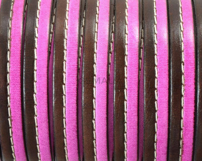Flat Stitched leather cord. 10x2cm. Dark brown-fuchsia . Best Quality.