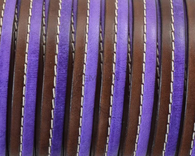 Flat Stitched leather cord. 10x2cm. Dark brown-violet . Best Quality.
