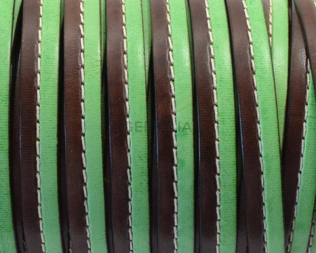 Flat Stitched leather cord. 10x2cm. Dark brown-green. Best Quality.