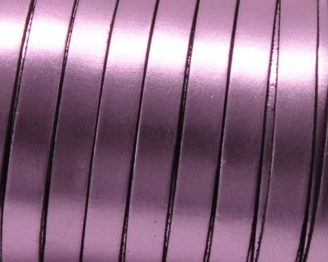 Flat Leather cord. 10x1.5mm. Metal pink. Best Quality.