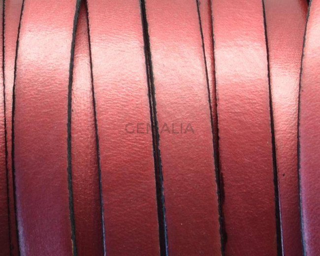 Flat Leather cord. 10x1.5mm. Metal red-black. Best Quality.