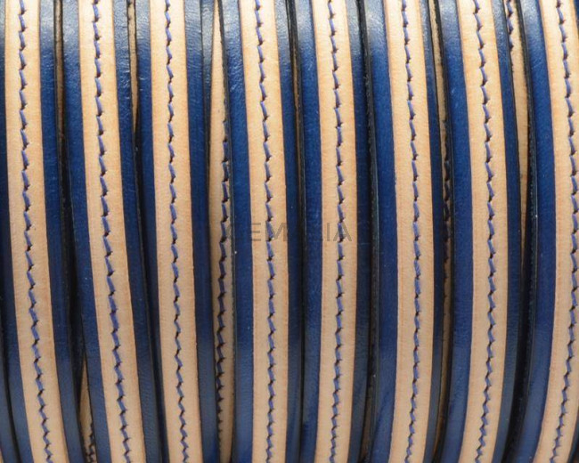 Flat Leather cord. 10x1.5mm/5x1.5mm. Blue-natural. Best Quality.