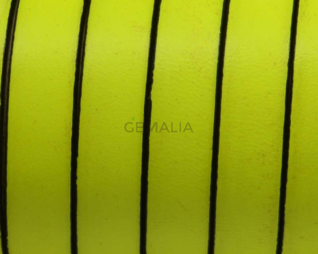 Flat Leather cord. 10x1.5mm. Fluorescent yellow-black. Best Quality.