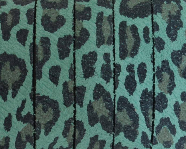 Flat Leather cord. 10x2mm. Leopard. Green. Best Quality.