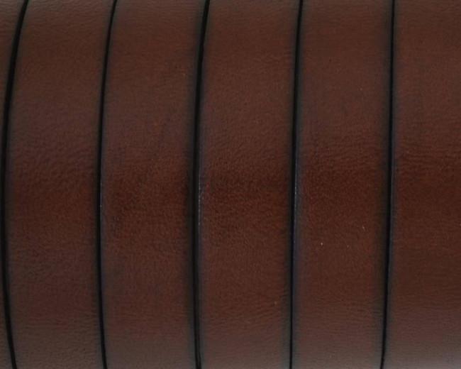 Flat Leather cord. 10x1.5mm. Cognac-black. Best Quality.