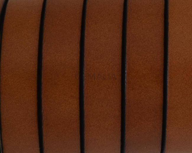 Flat Leather cord. 10x1.5mm. Light brown2-black. Best Quality.