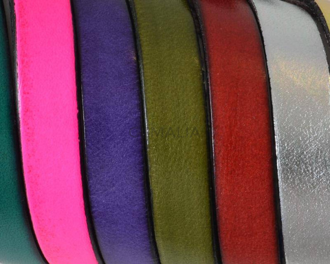 Flat Leather cord. 10x1.5mm. MIX1. Best Quality.