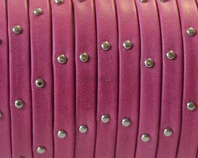 Flat Leather cord. 5x1.5mm. Denver. Fuchsia-silver. Best Quality.