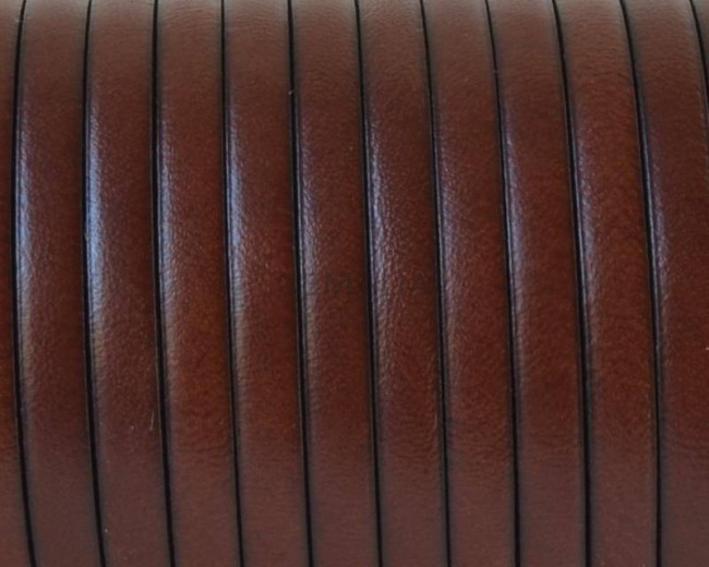 Flat Leather cord. 5x1.5mm. Cognac-black. Best Quality.