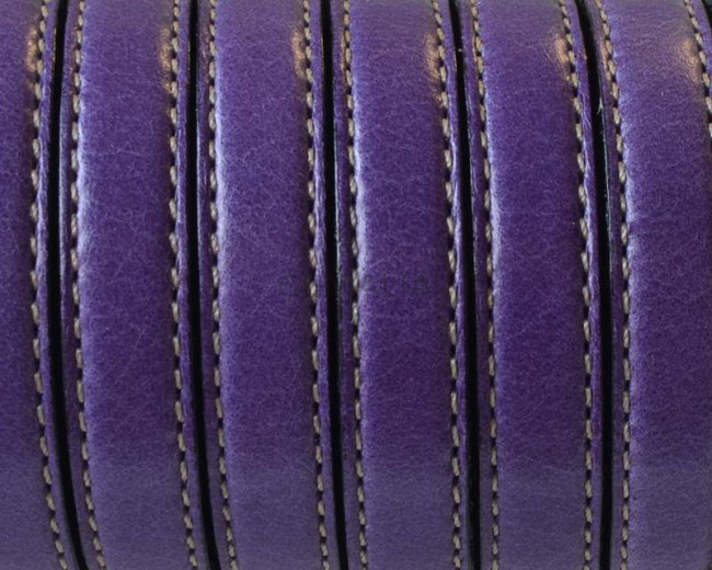 Flat Stitched leather cord. 10x2mm. Purple. Best Quality.