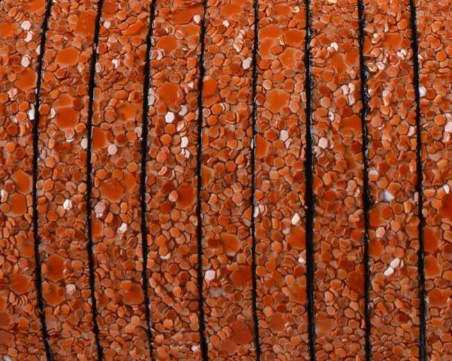 Synthetic fancy cord. Flat. 5x2mm. Orange. Best Quality.