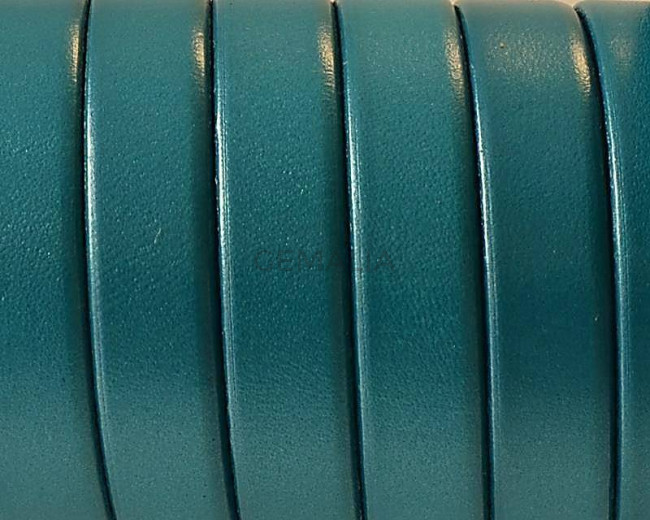 Flat Leather cord. 10x1.5mm. Metal turquoise. Best Quality.