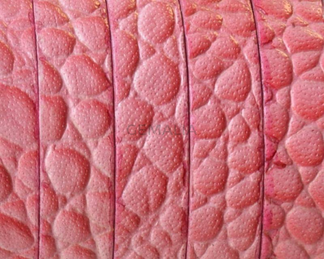 Flat Leather cord. 10x1.5mm. Snake engraved. Pink. Best Quality.