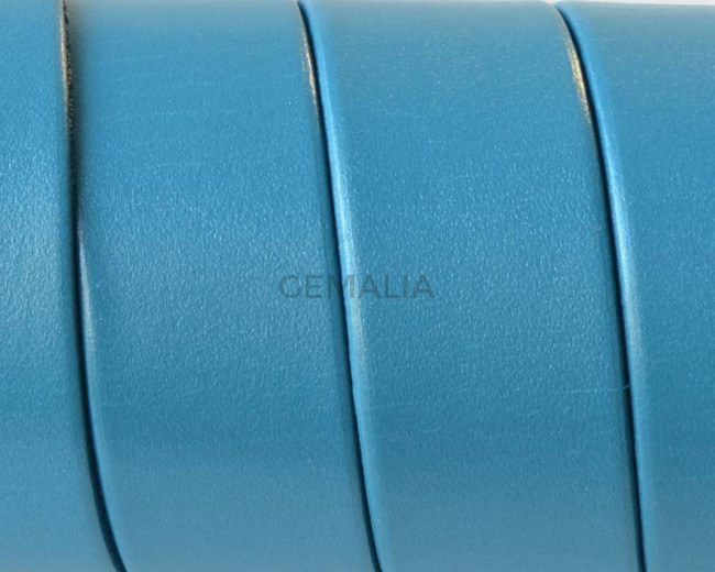 Flat Leather cord. 20x1.5mm. Metal turquoise. Best Quality.