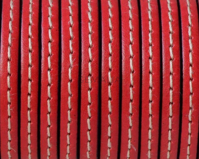 Flat Stitched leather cord. 5x1.5mm. Red-black. Best Quality