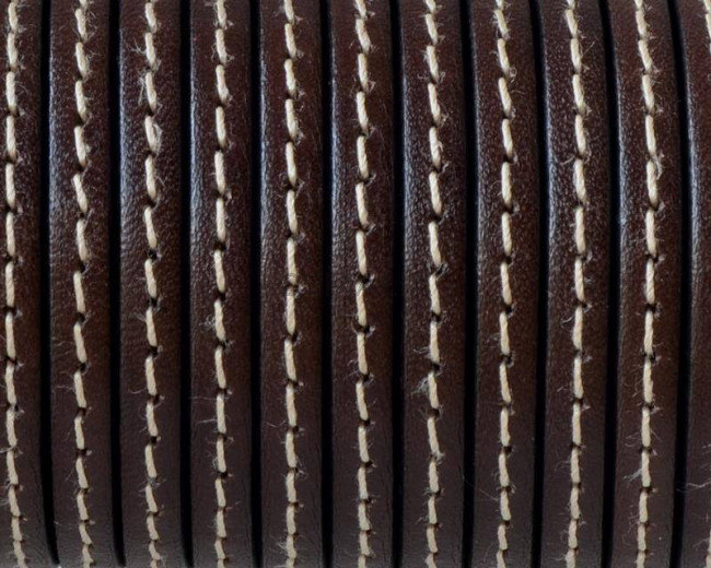 Flat Stitched leather cord. 5x1.5mm. Dark brown. Best Quality