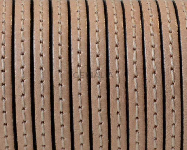 Flat Stitched leather cord. 3x1.5mm. Natural. Best Quality.