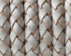 Bolo Braided Round Leather Cord. 10mm. White