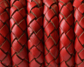 Bolo Braided Round Leather Cord. 10mm. Red