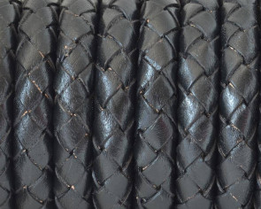 Bolo Braided Round Leather Cord. 10mm. Black