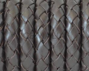 Bolo Braided Round Leather Cord. 10mm. Dark brown