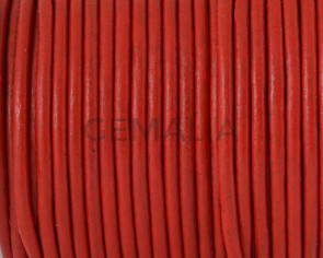 Round leather Cord. 2.5mm. Red.