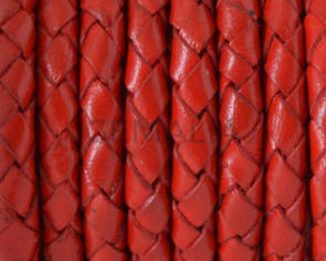 Bolo Braided Round Leather Cord. 5mm. Red.